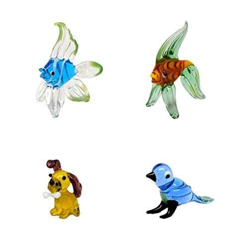 Pixie Glare Hand Blown Glass Figurines Miniatures (4 Pack #2 - Without Gift Boxes) (Miniature Figurines)