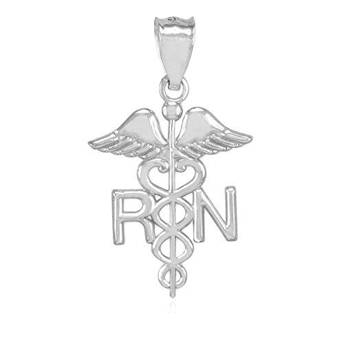 """Petits Merveilles D'amour - 14 ct Or Blanc 585/1000 Infirmière en Médecine """"RN"""" - Pendentif"""