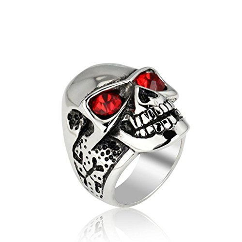 MoAndy Jewelry Men's Fashion Rings Stainless Steel Inlaid CZ Classical Skull Punk Rock Red US 9