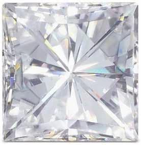 Square Brilliant Moissanite by Charles and Colvard Loose Stone, Very Good Cut