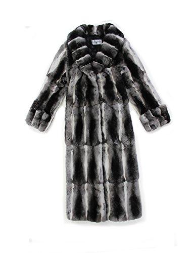 (Bergama 715497 New Natural Genuine Chinchilla Fur Full Length Coat Stroller Jacket 10 Medium)