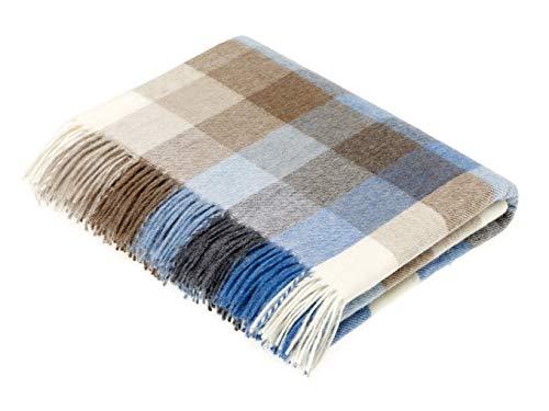- Moon Wool Plaid Throw Blanket, Merino Lambswool, Tartan Harlequin Check Aqua & Camel, Made in UK