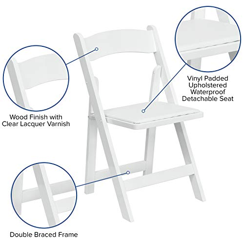 Flash Furniture 4 Pk. HERCULES Series White Wood Folding Chair with Vinyl Padded Seat -