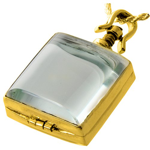 Memorial Gallery Pets 5006gp Glass Square Victorian Locket 14K Gold Plating Cremation Pet Jewelry