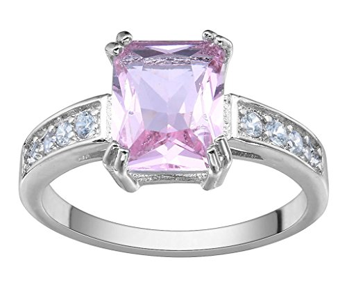 Woo2u Stainless Steel Pink Square Cubic Zirconia Cz Shiny Finger Ring 9