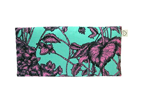 Scented Eye Pillows - Pack of (4) - Soft Cotton 4 x 8.5 - Lavender Flax Seed - Relax Soothe - yoga - tropical flowers palm leaves blue green pink fruit bird by Peacegoods (Image #2)
