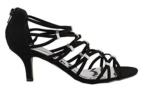 Easy Street Women's, Nightingale Mid Heel Dress Sandals Black Lamy 8 (Easy Street Mid Heel Sandals)