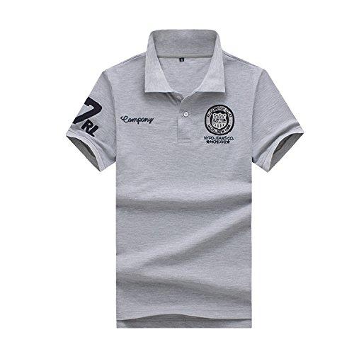 KMAZN ポロシャツ メンズ 薄手 半袖 Tシャツ 刺繍 ワッペン 男女兼用 ニット シンプル ゴルフウェア 春 夏 秋
