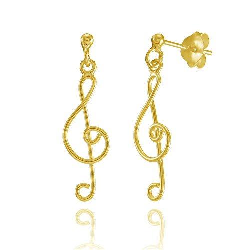 Yellow Gold Flashed Sterling Silver Musical Note Lightweight Dangle (Yellow Gold Musical Notes)