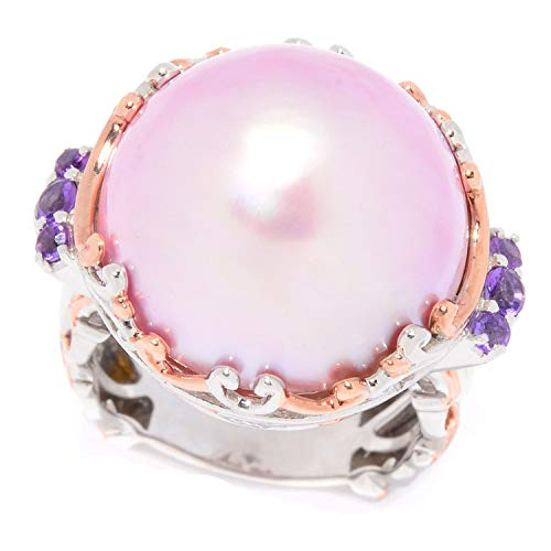 (Michael Valitutti Palladium Silver Pink Mabe Cultured Pearl & Amethyst Ring)