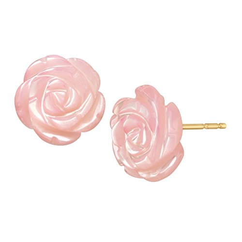 Pink Natural Mother-of-Pearl Flower Stud Earrings in 14K Gol