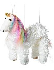 Artisan Owl Rainbow Mane Magical Unicorn Marionette Yarn Puppet (White)