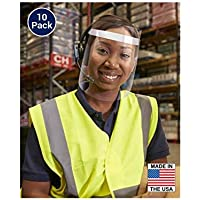 10 Pack - Adjustable Safety/Protective Face Shield with Hinged Visor - Made in the USA!