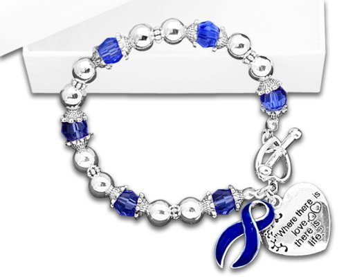 Colon Cancer Awareness Ribbon Charm Bracelet - Where There Is Love (Retail) Blue Awareness Ribbon Charm
