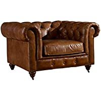 Crafters and Weavers Top Grain Vintage Leather Chesterfield Style Arm Chair