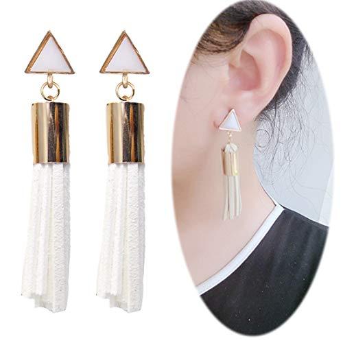 (Leather Tassel Dangle Threader Drop Earrings Long Fringe Triangle Studs Women Linear Tribal Charms Jewelry White)