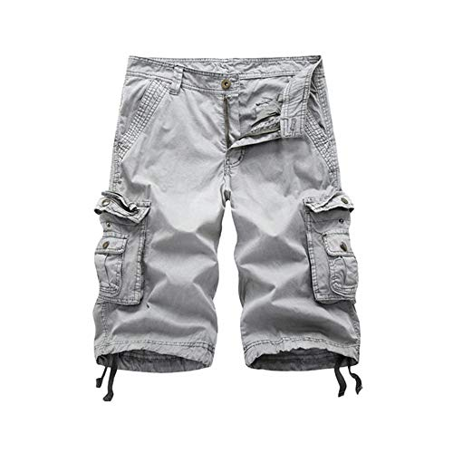 LANGY LIST-Mens Casual Loose Fit Cargo Shorts Straight Multi-Pocket Cotton Outdoor Wear-Grey-38