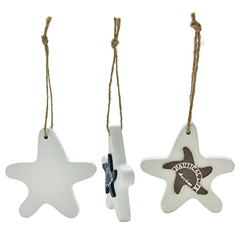 1 PC Mediterranean Starfish Hung Fish Nautical Decor hang Mini Adorn Crafts Wood Fish/decorated marine pendant For Kid (Big Star Mini Skirt)