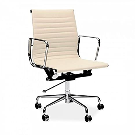 Sedia Eames Ufficio.Real Cream Leather Charles Eames Era Ribbed Office Chair Low
