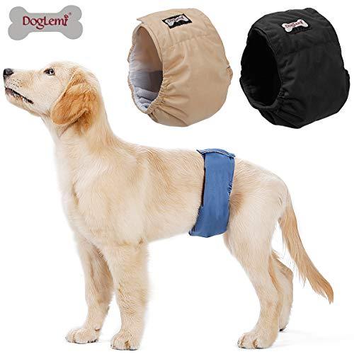 Doglemi Waschbare Windeln für Hunde für Männer, 3 Stück, Hygienische Unterhose für Hundetraining, 6 Größen erhältlich…