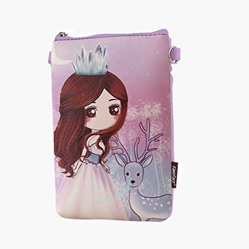 Teens Girls Kids Students Novelty Cartoon PU Leather Mini Shoulder Bags Crossbody Bags Cell Phone Case Holder Small Wallet Purse Cash Key Coin Pouches Clutch Handbag Purple