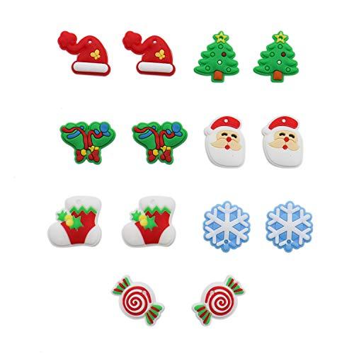 HUELE 14 Pcs Christmas Style Cute Shoes Charms Fit for Croc Shoes & Wristband Bracelet ()