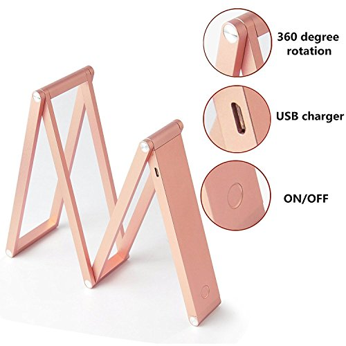 ANTIEE Foldable LED Desk Lamp, USB Rechargeable, Portable and Multi-Functional - Reading, Studying, Camping, Home and Office (Rose Gold) by ANTIEE (Image #1)