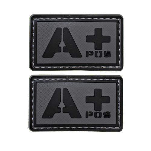 EJG Bundle 2 pieces-Tactical Blood Type Patches -Type A Positive - 2x1 (A+ Black Gray PVC)