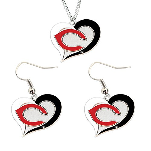 Cincinnati Reds Mlb Crystal (MLB Cincinnati Reds Swirl Heart Necklace and Dangle Earring Set Charm)