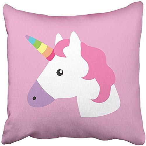 (Pink Head Unicorn Portrait Kids Room White Horse Face Square Decorative Throw Pillows Cushion Covers Pillowcases for Sofa,18×18 Inch Cotton)