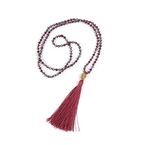 VEINTI+1 Bohemia Crystal Glass Beads Golden Buddha Head Tassels Long Sweater Chain Women's Necklace (G-Red) ()