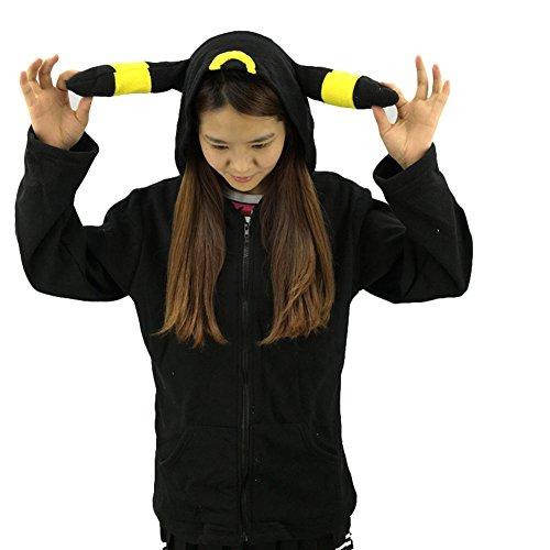 King Ma Unisex Cute Cartoon Stitch Hoodie Costume Zipper up Hooded Tops Yellow ()