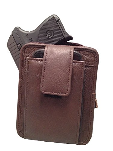 Brown Leather Concealment Gun Holster Fits Ruger LCP 380 with Laser and Iphone 6 (Without Protective Case)all-in-one