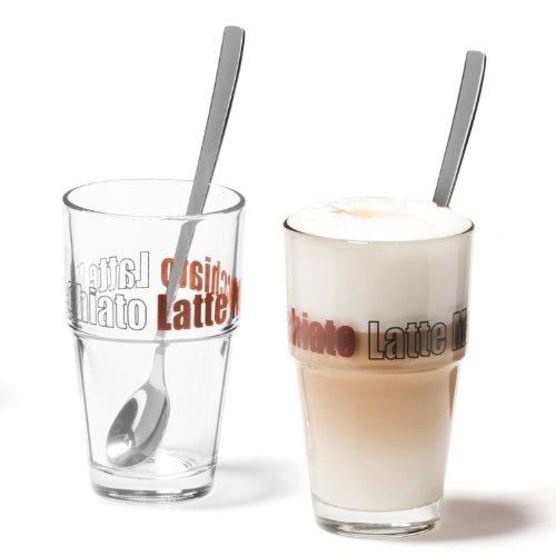 Leonardo 042555 Becher Solo Latte Macchiato mit Löffeln 4-teilig Set