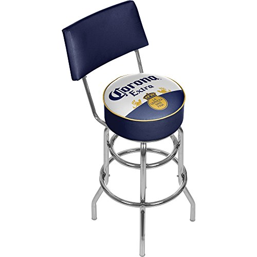 Corona Extra Swivel Padded Swivel Bar Stool with Back - Label Design - by Corona by Trademark Gameroom