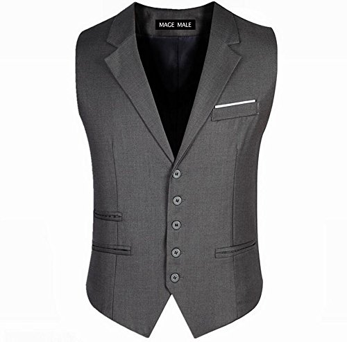 MAGE MALE Men's V-Neck 5-Button Vests Single Breasted Notched Lapel Business Suit Separate Waistcoat,X-Large,Grey Notch Lapel Vest