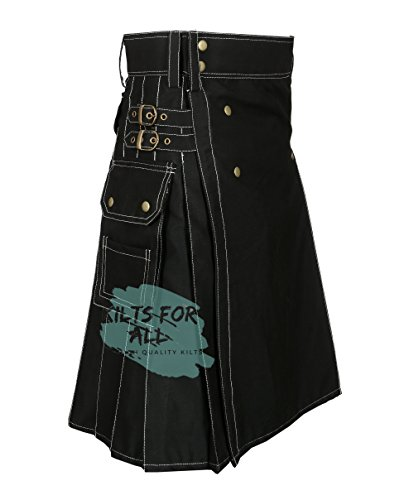 New Fashion Black Wedding Utility Kilt For Active Men ()