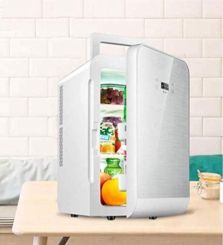 車の冷蔵庫ミニポータブルパーソナル冷蔵庫20Lシングルドア電気クーラー/ウォーマーコンパクト冷蔵庫寮のオフィスの寝室のノイズなし-銀