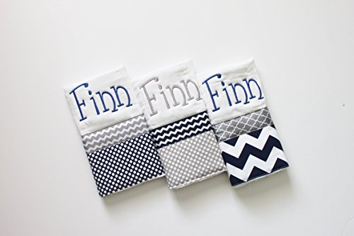 3 Personalized Baby Boy Burp Cloth Set in Navy and Gray - Polka Dots and Chevron by First Crush Designs