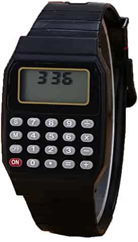 Unisex Calculator Watch Silicone Multi-Purpose Date Time Electronic Wrist Watches Girl Boy Students Wristwatch (Black)