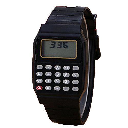 Unisex Calculator Watch Silicone Multi-Purpose Date Time Electronic Wrist Watches Girl Boy Students Wristwatch