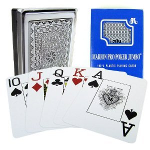 Marion Pro Jumbo Index - 100% Blue Plastic Poker Playing ()
