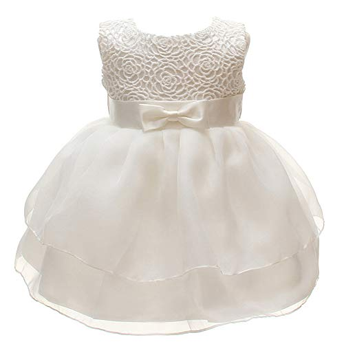 Baby Girls Dresses Christening Wedding Pageant Bow Formal Dress Ivory white -