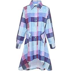 Olrain Womens New Plaids Irregular Hem Casual Shirt Dress XX-Large Purple Blue