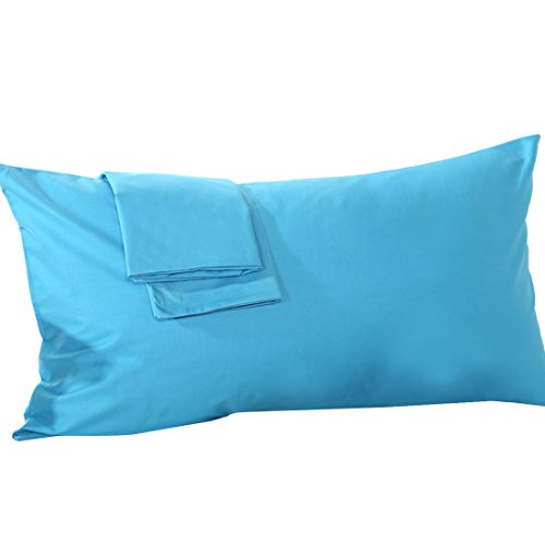 uxcell Body Pillow Case Pillowcase Cover, Egyptian Cotton, 250 Thread Count, Non-Zippered for Your 20 x 54 Body or Pregnancy Pillow, Blue, ()