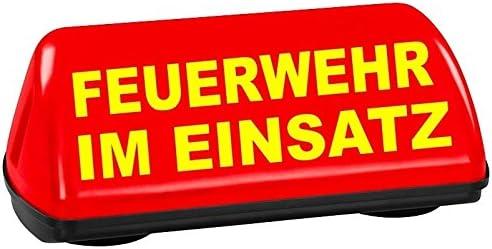 Paco Kfz Dachaufsetzer Speed Leuchtrot Feuerwehr Im Einsatz TÜv Geprüft Bis 240 Km H Textfarbe Gelb Unbeleuchtet Elektronik