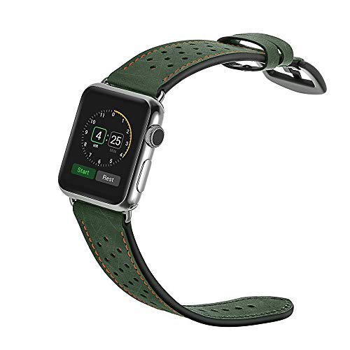XBKPLO Sports Leather Band Compatible for Apple Watch Band Series 4 42mm 44mm Series 3/2/1 Replacement Strap Cuff Breathable Bracelet