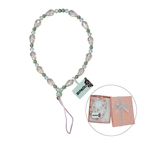 SIPAOU Women's Fashion Cell Phone Lanyard Strap, 7.8 Inch Bling Crystal Beads Hand Wrist Lanyard Strap String for Cell Phone Purse Camera MP3 MP4 iPod PSP Keychain, Gift Box Included(Short Pink) by SIPAOU