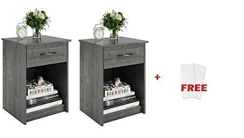 Set of 2 Nightstand MDF End Tables Pair Bedroom Table Furniture Multiple Colors, (2 Sets, Rodeo Oak + Fabric Wipes) ()
