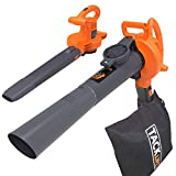 TACKLIFE Blower Vacuum, 540 CFM Vac Mode, Variable-Speed (Up to 240 MPH), 12 Amp 3-in-1 High Performance Blower/Vac/Mulcher and Lightweight, Ergonomic Design, 11.9GAL Durable Bottom-Zip Bag